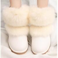 female Snow boots with imitation fox fur