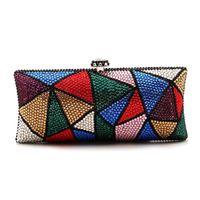 Brand new 2014 ladies handbags luxury handbag new Euramerican diamond color triangle diamond dinner high-end hand bag