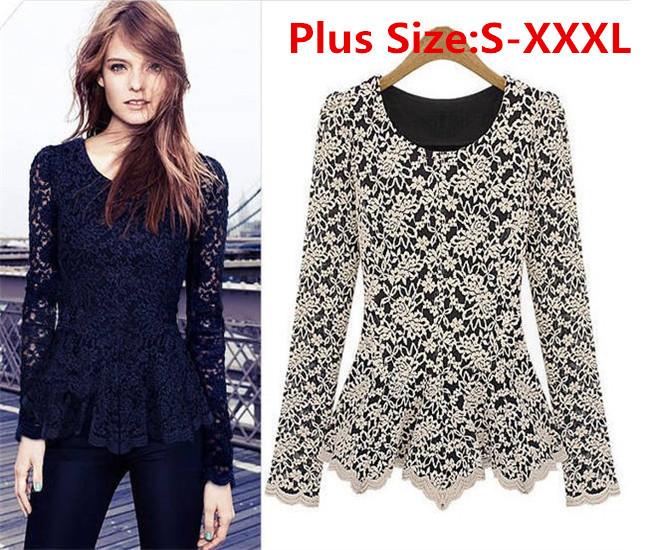 grossista nova moda de outono inverno mulher blusas camisas de- manga renda superior quente grande tamanho xxl xxxl 8007 senhoras blusa(China (Mainland))