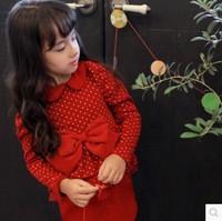 2014 Autumn Winter New Baby Girls Non-inverted-velvet Dress Dot Christmas dress Big Bow Dress Wholesale