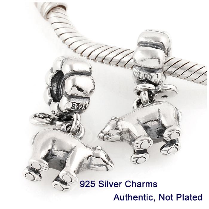 Beads DIY Fits for charmilia Pandora Bracelet Drop shipping Guaranteed 100 925 Silver Polar Bear Threaded