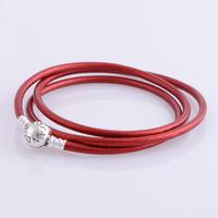 bracelet silver 925 sterling bracelests for women round red genuine leather bracelet men PL302-62 free shipping