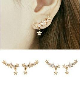 New fashion Exquisite Designed Beautiful Sweet Imitate Pearl Rhinestone Star Earring Clips Women Ear Cuff Single