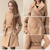 2014 Fashion Lady Women's Wool Slim Double-Breasted Trench Parka Winter Jackets parka coats Outerwear good quality plus size