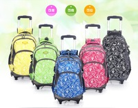 Fashion Trolley School Bags for Boys and Girls Large Capacity Travel Trolley Luggage Letter Printing 5 Colors Backpack on Wheels