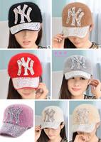 New fashion women winter rhinestone letter rabbit hair baseball cap