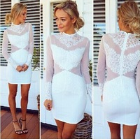 In the latest 014 years long sleeved lace see-through dress sexy mini bodycon dress frozen dress elsa dress