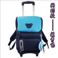 Korean Fashion Trolley School Bags for Boys and Girls Trolley Luggage for Children Casual Backpack on Wheels Mochila Infantil