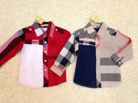 2014  New  Wholesale  Brand  fashion spring/autumn  children's  shirt  single  breasted  turn-down  collar  boy's  shirt