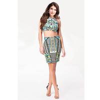 2014 New Arrival Women Casual Dress Sleeveless O-Neck 2 piece Summer Dress Print Mini Vintage Dress vestido de festa 9087-30