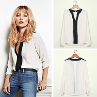 2014 New Arrival Spring Summer Casual Shirts Women Long Sleeve Chiffon Blouses Slim Fashion Tops  Free Shipping ch6