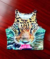 New 2014 Leopard Head Pattern Wild Summer Fashion Bustier Crop Top Sexy Tube Sport Camisolas AA Style Women Tank High Waist