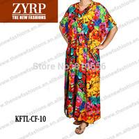 2015 New Woman Batwing Short Sleeve Cotton Elegant Floral  Abaya africa dubai muslim evening robe Gown Kaftan dress