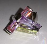 Perfect Cut irregular rectangular shape ring three color clear cystal column combination finger rings women's gift ALW1678