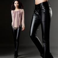 2014 New European and American Style Fashion women's plus velvet thickening legging pants long trousers PU Leather Capris