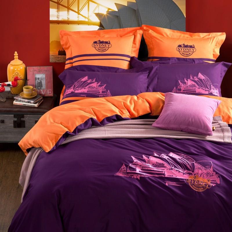 Orange duvet promotion online shopping for promotional - Orange and purple bedding ...