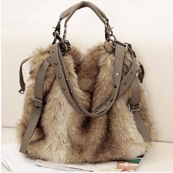 2014 New Fashion winter women's handbag faux fur bags velvet shoulder cross-body bags free shipping YK80-482(China (Mainland))