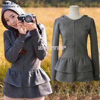 Korean Style Autumn Winter 2014 New Casual Tops Long Sleeve Hoodies Women Slim Thin Women Tops Zipper Hoody Outwear 2082