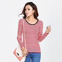 2014 New Fashion ruffle all-match stripe long-sleeve slim basic shirt Women's top