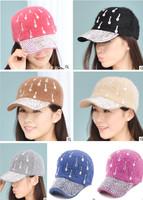 2014 New fashion women rhinestone meteor shower rabbit hair cap baseball cap