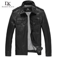 Luxury Motorcycle leather men jacket and coats Black slim genuine leather sheepskin coat  high quality free shipping DK056