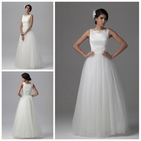 Ravsihing Elegant A-Line Wedding Dress Bridal Gown Sleeveless Tulle Fabric Floor Length Long White Wedding Dress Hot