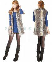 New Womens Fashion V-neck Long Design Faux Fur Vest Sleeveless GILET Outwear Light Color