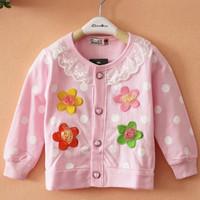2014 spring Autumn cardigan children outerwear full-sleeve dot lace flower sweatshirt baby girls jacket