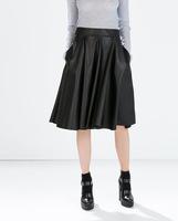 2014 new Fashion skirt European high waist women PU leather skirts black leather skirts womens