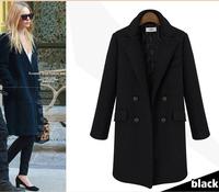 new elegant women winter wool blends loose coats,casual winter outwears long overcoats 8454