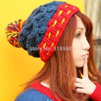 lovely winter knitted beanie hat women crochet beanie hats kids thick warm skull head beanies bonnet.AfW