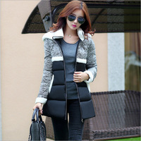 2014 lambs wool long spell in Europe winter new fashion color down the Korean version women wear cotton clothing