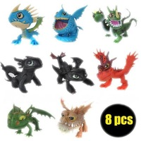8pc set How to train your Dragon Cartoon Night Fury toothless Dragon Action Figures Toys Dolls kids Children baby Christmas gift