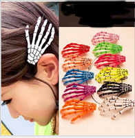 30pcs/lot Japan Korea Harajuku skull Shougu hand hairpin blood ghost ghost hand gripper clip hair accessories Christmas Gift