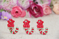 free shipping  Wholesale 20pcs/lot resin Christmas crutches Gift Series Flatback Cabochon Scrapbook 32*23mm
