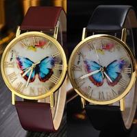 Feitong Womens Fashion Butterfly Style Leather Band Analog Quartz Wrist Watch Free Shipping & Wholesale