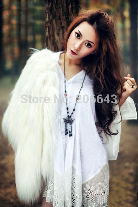 Осень зима монголия овца длинная мех куртки для женщины высокая qanlity белый мех пальто леди полный рукав с круглым вырезом сплошной одежда