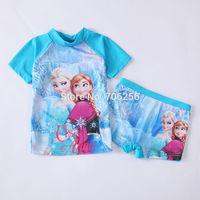Free shipping  Girl Girls SUV sun protection anti-uv swimwear bather t shirt short 2pcs sets 6sets/lot FGS02