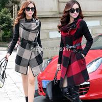 2014 New Hot Selling women's windbreaker Korean fashion Commuter Grid cloth coat women trench Wholesale S-XXL
