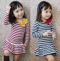 Min. qty any 2pcs in the shop Size100~140 autumn girls dress children clothing princess autumn long sleeve dresses kids stripes