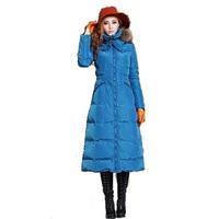 Winter 2014 High-end Raccoon Fur Collar Slim Warm Long Down Coat 141028YB01