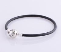 bracelet silver 925 sterling bracelests for women round genuine leather bracelet men PL301 free shipping