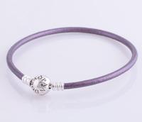 bracelet silver 925 sterling bracelests for women violet genuine leather bracelet men PL303 wholesale