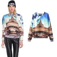 New Fashion 2015 Spring Women Stylish 3D Eiffel Tower Printed O-neck Hoody Sweatshirt Casual Ladies Blue Loose Hoodies PS0634