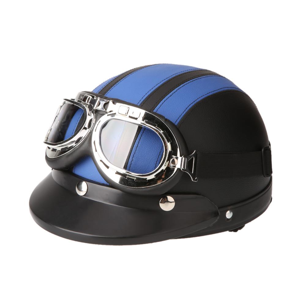 Мужчины женщины мотоциклетный шлем открытый велосипед шлем скутер половина кожаный шлем с козырьком очки ретро 54 - 60 см