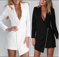 014 new winter V collar long sleeved irregular fashion sexy little suit slim jacket bandage mini bodycon frozen dress elsa dress