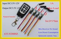 Wireless Remote Control Switch 433mhz  3.7v 4.5v 5v 6v 9v 12v Micro Receiver Switch+ Transmitter DC3.5V-12V Wide Voltage 1A  Mos