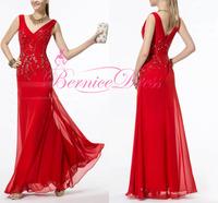 Vestido De Renda V-neck Mermaid Red Chiffon Floor Length Custom Made Long Dress Party Evening Gown Elegant Prom Dresses 2014