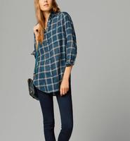 2014 New Ladies' elegant plaid print OL blouses stylish turn down collar long sleeve work shirt casual slim cotton tops c541