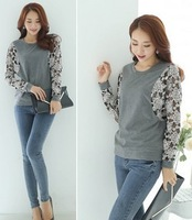 2014 New  Spring Autumn Women Sexy lace Floral stitching loose long-sleeved T-shirt Batwing Shirt Blouse top
